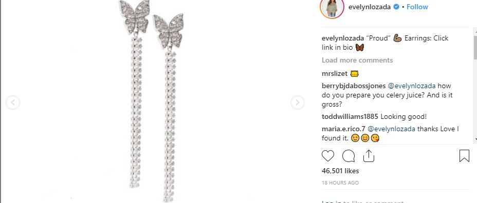 Evelyn Lozada posted an earring ad but more people paid attention to her abs.