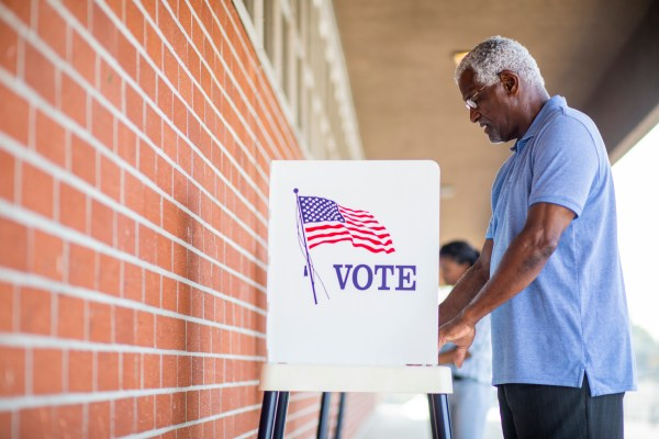 Man casts vote