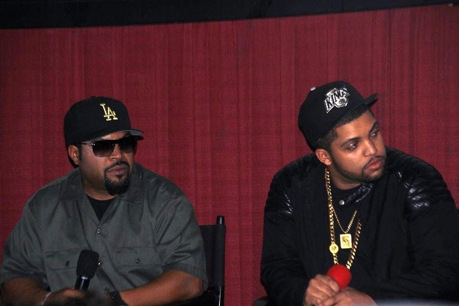 """Ice Cube, left, and his son O'Shea Jackson Jr., during the panel discussion following the """"Straight Outta Compton"""" premiere."""