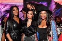 """ATLANTA, GEORGIA - MARCH 10: (L-R) Kenya Moore, Tammy Rivera, Kandi Burruss, and Waka Flocka attend the premiere of """"Waka & Tammy: What The Flocka"""" at Republic on March 10, 2020 in Atlanta, Georgia. (Photo by Paras Griffin/Getty Images WE tv)"""