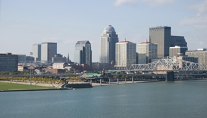 Downtown Louisville Skyline with the Ohio River in the foreground.