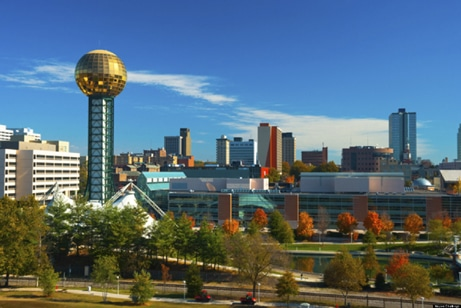 Knoxville skyline with the Sunsphere and the World's Fair park in the foreground.