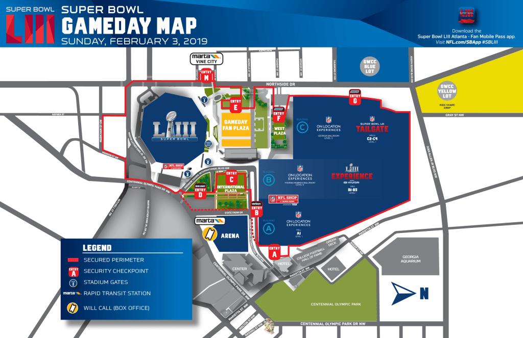 Atlanta Map Traffic.Atlanta Super Bowl Road Map Traffic Plans Street Closures Etc