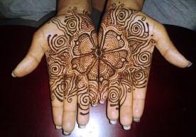 two handed henna flower design