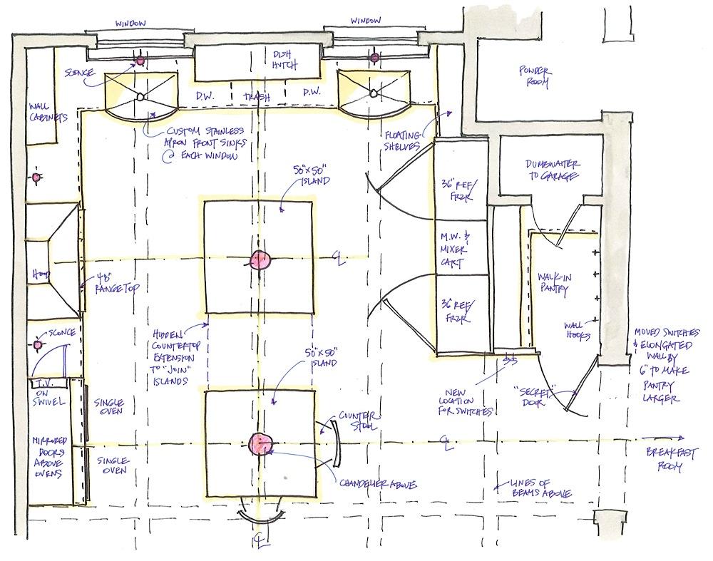 18 Spectacular Kitchen Floor Plans Islands  House Plans