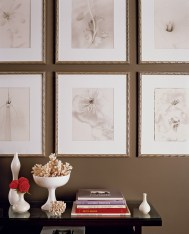 10) Bill Musso's striking tableau and photography arrangement creates a memorable focal point in his living room.