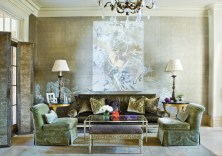 68) John Nelson and Michael Kirkland melded contemporary art, luxe fabrics and a hand-painted wall covering to create a room.