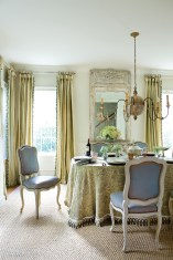 64) Soft Swedish style adds romance to a dining room by Mandy Culpepper.