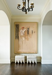 A work of art by Belgian artist Patrick Villas makes a striking first impression in the entry.