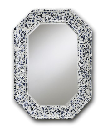 """Currey & Company porcelain """"Blue Willow"""" mirror, $720. Available at Redefined Home Boutique, 887 Howell Mill Rd., Atlanta 30318. (404) 815-7250; redefinedhomeboutique.com"""