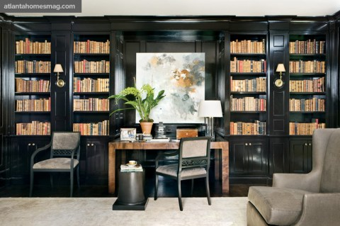 """Brown's signature pull-up chair can be placed anywhere—in a foyer, a master bath, wherever. It has a fretwork back and, when you look closely, it's two B's overlapping, as in """"Bob Brown."""" The chair is paired with a Parsons desk and column-style drinks table, both of his design."""