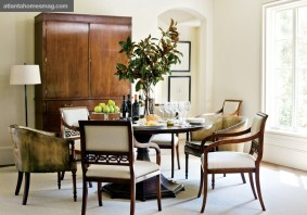 """Brown's style ethos is evident in his design of the armchairs and large cabinet in the dining room. """"It was a balancing act not to let things get too simple nor too overworked,"""" says Brown. """"That's really our whole philosophy of design; things ought not to be too complicated, but really well done."""""""