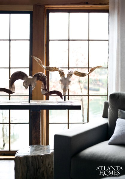 Mounted rams-horns were chosen for both their texture and silhouette.