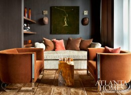 Vintage tub chairs from Pieces and a custom sofa by Bjork Studio add substance to the den, while burnt orange mohair from Holland & Sherry creates a sense of drama.