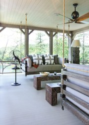 Custom swings based on antiques from the Far East and Italian ceiling fans, opposite, bring in a worldly flair that renders the sleeping porch much more than that of your typical summer home.
