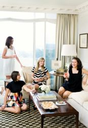 Before dinner, guests gather in Howard's living room for libations and parmesan-pimento cheese hors d'uvres.