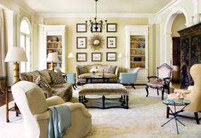 Linen velvets were used throughout the family room to add comfort, and a cool-hued cashmere throw, tossed lightly over an armchair, suggests curling up for a long, jovial after-dinner conversation.