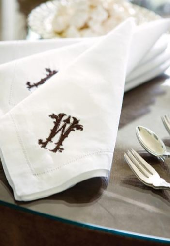 """I love these monogrammed napkins,"" says Webb. ""I found them at Gramercy Home in the Peachtree Battle Shopping Center. They turn custom embroidery around in two days!"" Napkins, Gramercy Home, (404) 846-9244"