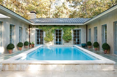 """The home""""s courtyard was inspired by Katie""""s grandfather""""s house in Jamaica."""