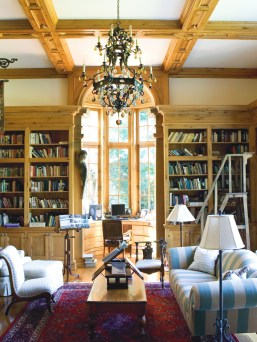 70) Books, manuscripts and more fill the shelves in the library of Bridget and Jerry Dobson's former home, Descante.