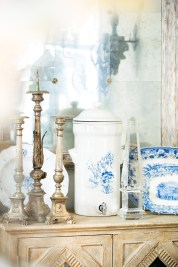 Antique French water filter jar with spigot, $175, and antique English platters, $225-$245. Available at boxwoods gardens & gifts, 100 E. Andrews Dr. NW, Atlanta 30305. (404) 233-3400; boxwoodsonline.com