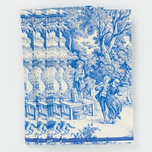 """Caspari """"Festive Toile"""" blue paper guest towels, $7 for 15. Available at Lush Life Home & Garden"""