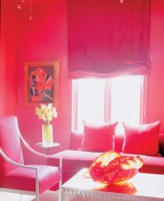 76) Red! Red! And more red! This room by John Oetgen is an immersion in color.