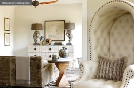 The master suite features a divine sitting room. Striped rug, Sullivan Fine Rugs. Round side table, A. Tyner Antiques. Verellen chaise, cashmere throw, lamps, dresser and accessories, all available through Bungalow Classic. Map, Parc Monceau.