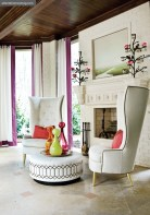 Bright Ideas Overlook Terrace, Barbara Heath Against a creamy white backdrop, luxurious lounge chairs and brightly colored accessories aided in blurring the lines between indoors and out.