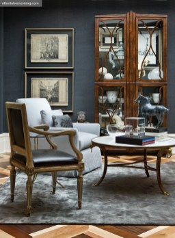 The Right Mix Ante Room, Reynolds Brown and Cindy Kirkland Leather, silk and grasscloth are just a few of the textures that made this space a lesson in subtle sophistication.