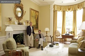 The late Jim Essary, standing, and Bill Murphy in a showhouse room they designed in 2006.