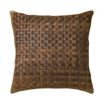 Basket Weave leather pillow, starting at $39. restoration hardware