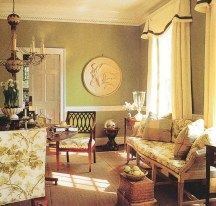 The dining room of the Colonial Homes showhouse from 1995. The room is painted Summer Olive by Benjamin Moore and the fabrics are from Schumacher. PHOTOGRAPHY BY MAURA MCEVOY