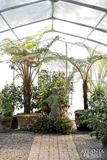 Inside a greenhouse on-site.
