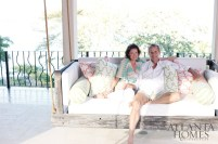 "Charles and Ginny Brewer on the loggia of their Las Catalinas home, which overlooks the community""s paseo del mar (sea walk)."