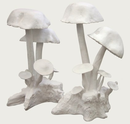 Oly Studio cast resin mushroom ornaments, $575 for the pair. Mrs. Howard