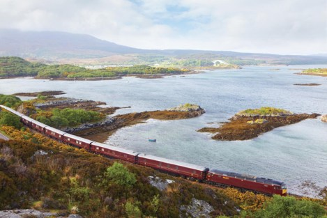 The Royal Scotsman traverses the Scottish countryside, embarking from Waverly Station in Edinburgh.