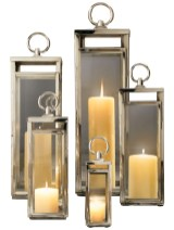 """Santorini"" lanterns in polished nickel, $25-139 each. Restoration Hardware, 120 Perimeter Center West, Suite 200, Atlanta 30346. (770) 804-9040; restorationhardware.com"