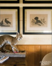A mounted bobcat, wood-block prints and a vintage dollhouse add personal touches to the rustic decor of architect Keith Summerour's guest house at his Meriwether County farm.