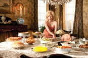 Many of the sets from the film were designed with formality and tradition in Mind. Actress Jessica Chastain sets out a feast.