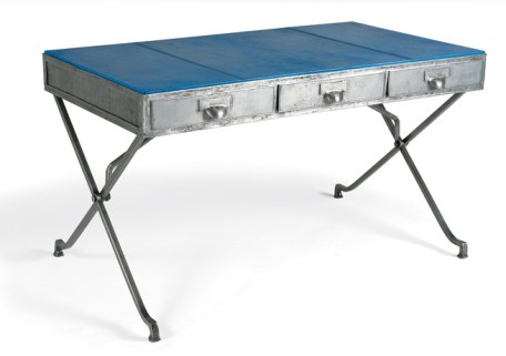 """Bespoke iron-and-steel """"Bascule desk"""" with hand-dyed electric blue goatskin leather top, offered in an array of customizations and alternate drop tops, $15,930. Available through Soane Britain, +44 (0) 20-7730-6400; soane.co.uk"""