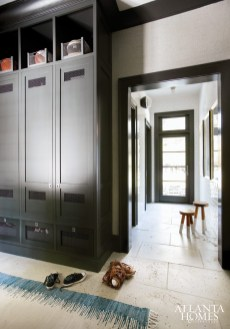 Custom lockers by Brian Watford Interiors provide plenty of storage space for a busy young family.