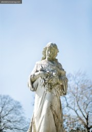 A statue at nearby Historic Oakland Cemetery oversees the wintry scene.
