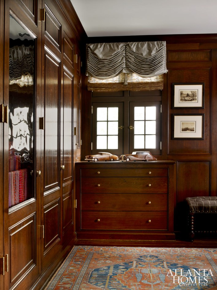 The master bedroom closets are one of many handcrafted elements created throughout the house by Jim Eiland of C & E Remodeling.