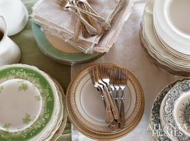 Mismatched china, flatware and linens were gathered for the multicourse dinner.