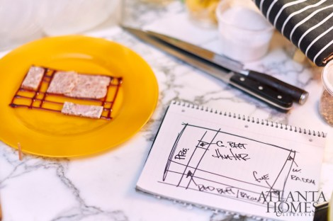 A diagram of the Mondrian-esque terrine informs prep work and ingredient placement.