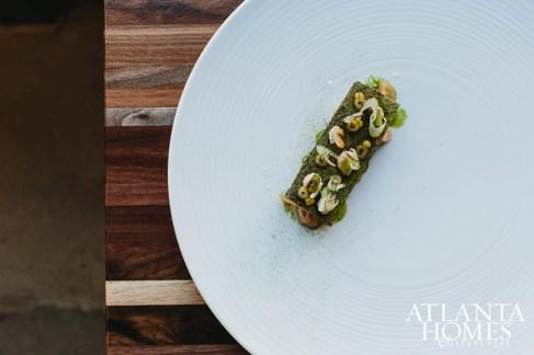 Trout with onion, fennel, yuzu and crème fraîche.