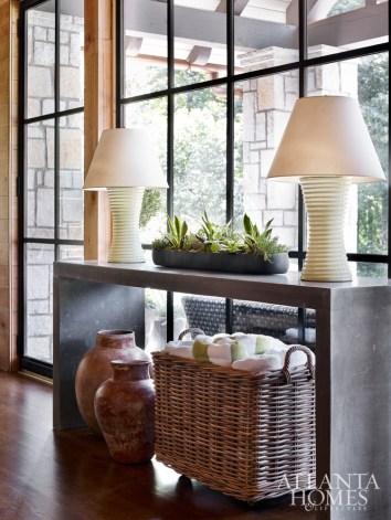 Christopher Spitzmiller lamps anchor an interior nook.