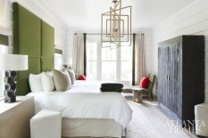 "A play on scale adds a dose of whimsy to the master bedroom and bath. ""It almost feels like a hotel room, luxurious but still a bit campy,"" says Douglass. The rug is from CB2, while all other furnishings and accessories are from South of Market."