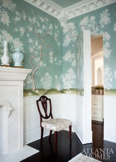 A hidden door in the dining room leads to an adjacent butler's pantry.